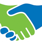 Clip art of shaking hands colored green and blue